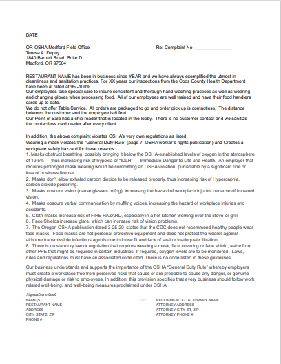 OSHA Response Letter