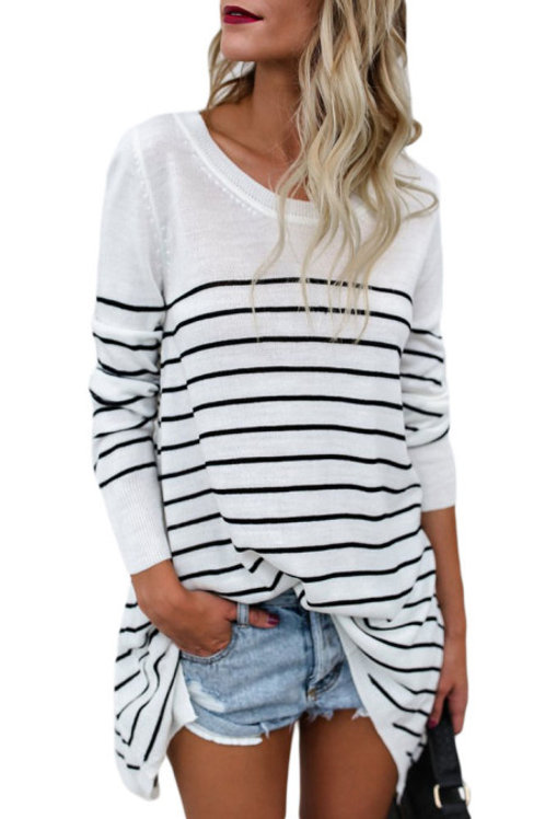 Knit striped pullover sweater