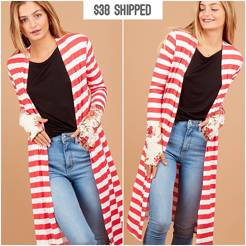 Coral stripe floral sleeve long cardigan