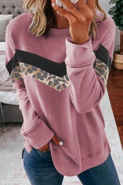 Pink leopard color block sweatshirt