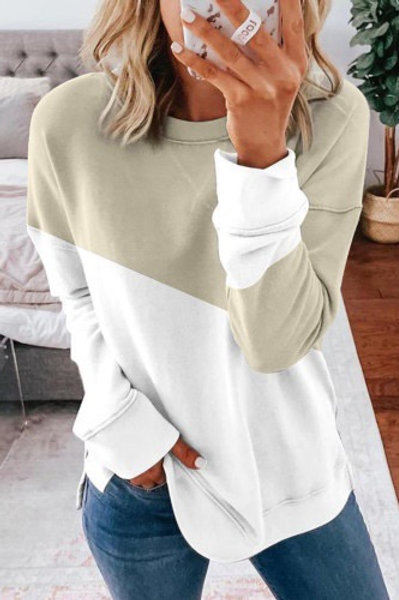 Apricot patchwork drop shoulder sweatshirt