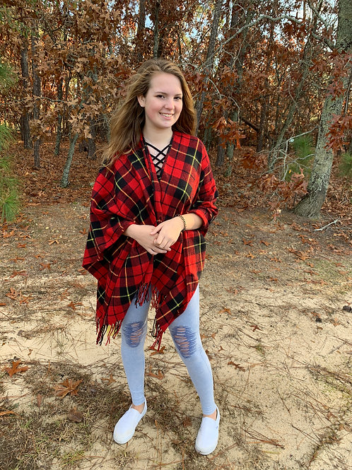 Red plaid blanket sweater