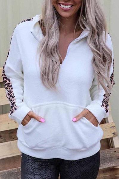 Leopard trim half zip pullover