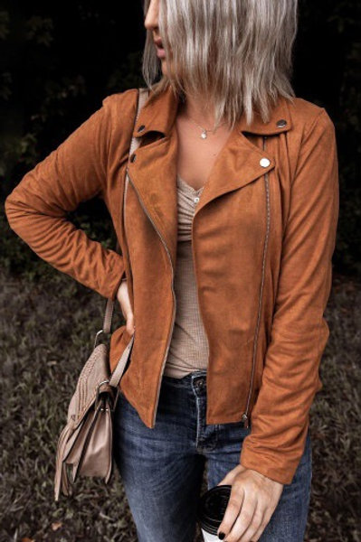 Rust brown moto suede jacket