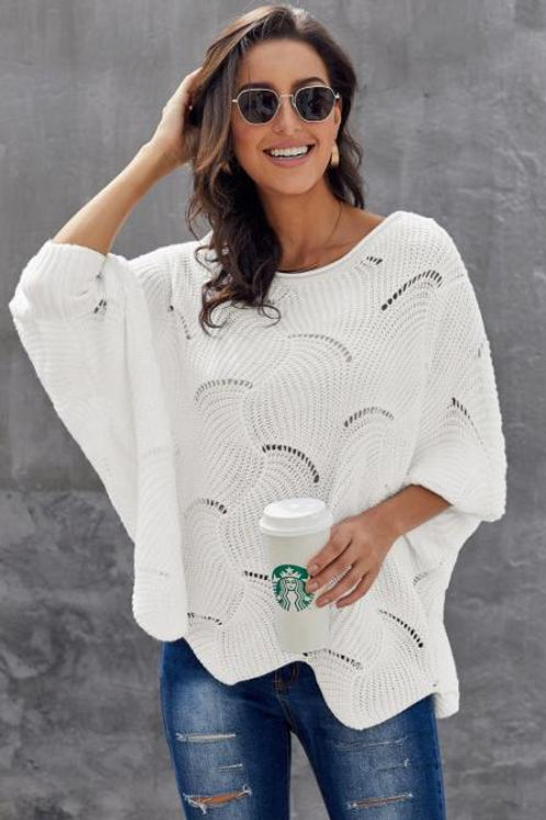 White Wave Hem Batwing Sweater