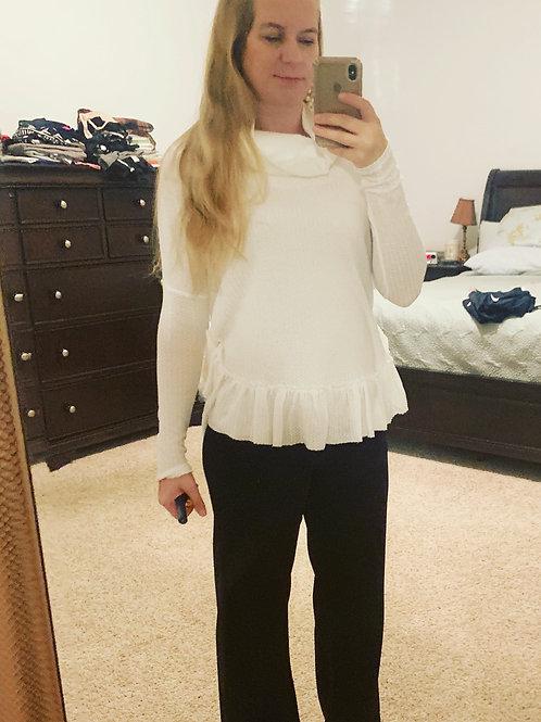White cowl ruffle trim sweater