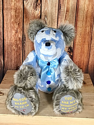 Memory bear made from baby blanket