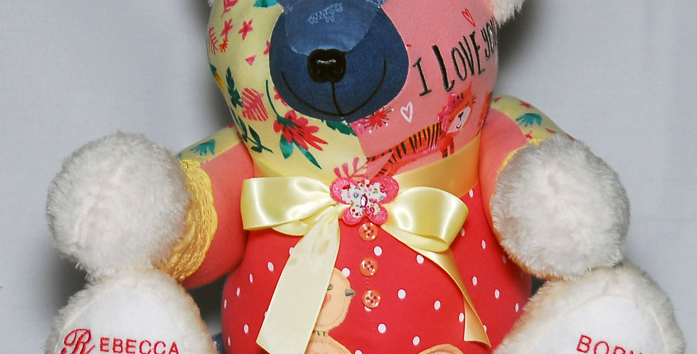 Teddy bear from baby clothes