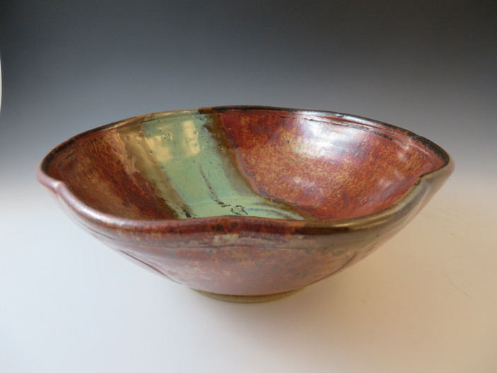 Serving Bowl in Copper w/Turquoise