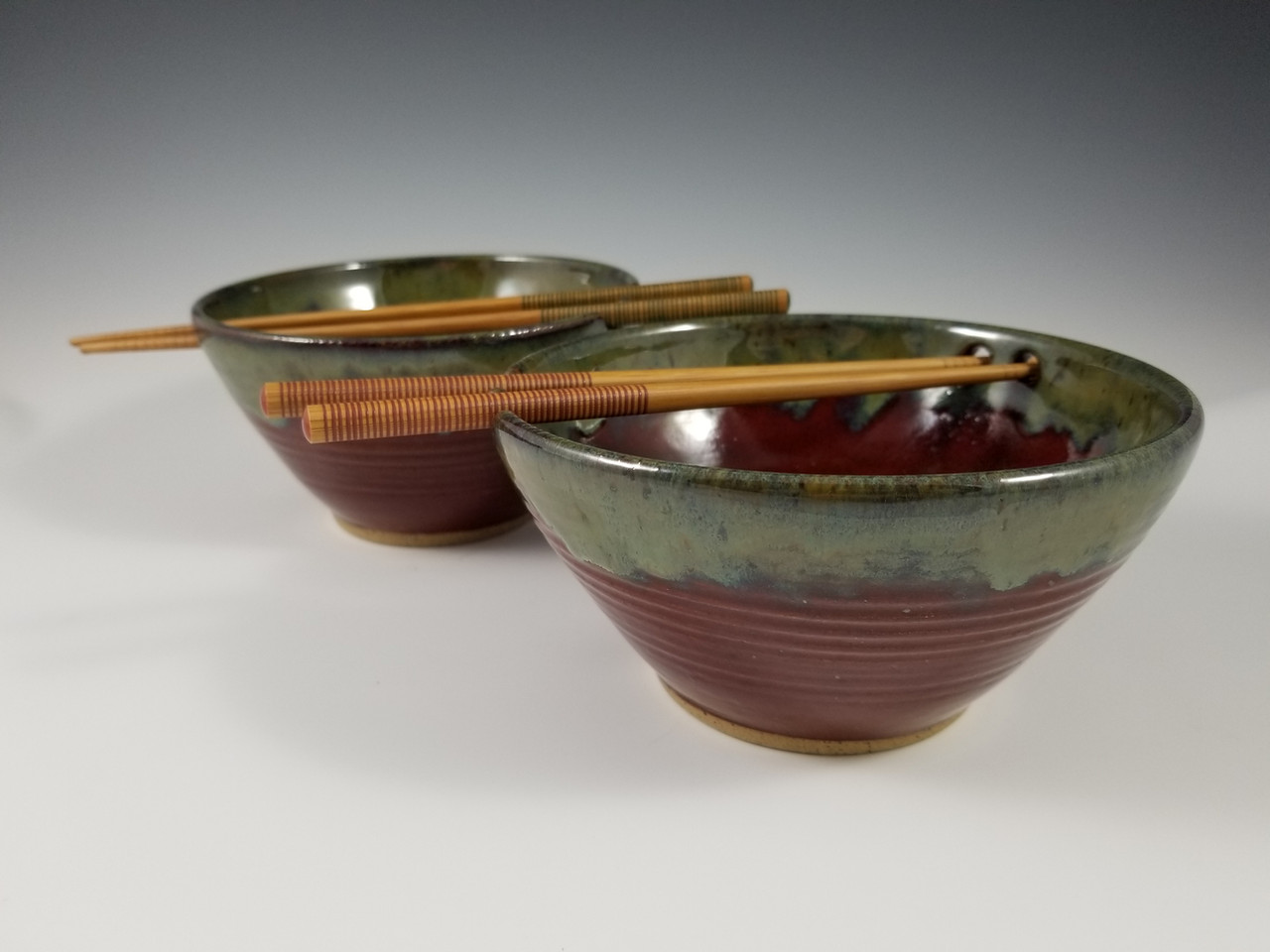Noodle Bowls in Deep Red with Green Rim