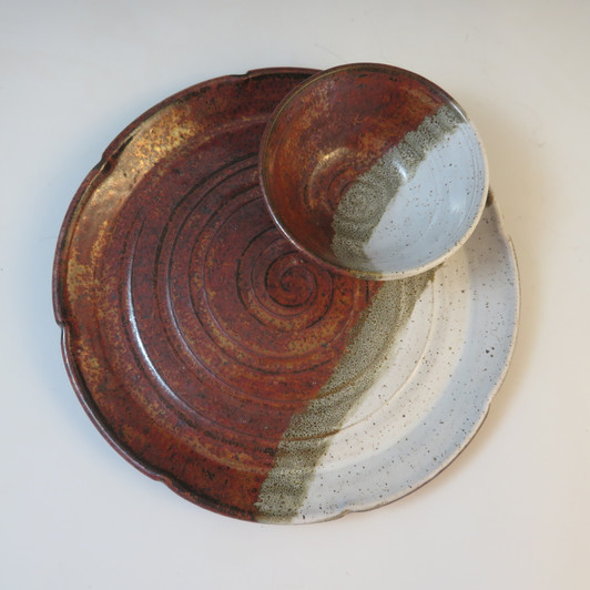 """10"""" Serving Plate w/Condiment Dish in Ancient Copper & White"""
