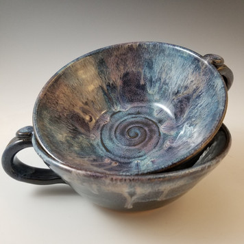 Soup Mug Set in Blues & Lavender