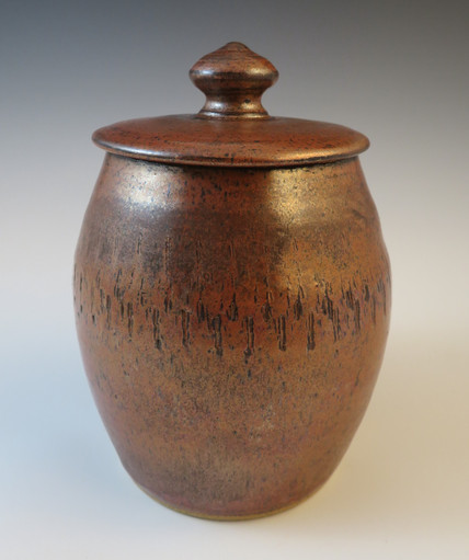 Covered Storage Jar in Antique Copper