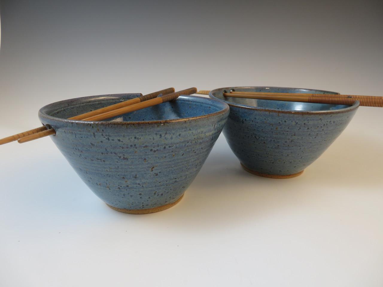 Noodle Bowls in Rustic Blue