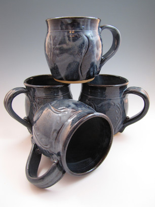 12 oz Mugs in Low Tide Blue w/Vine Carving