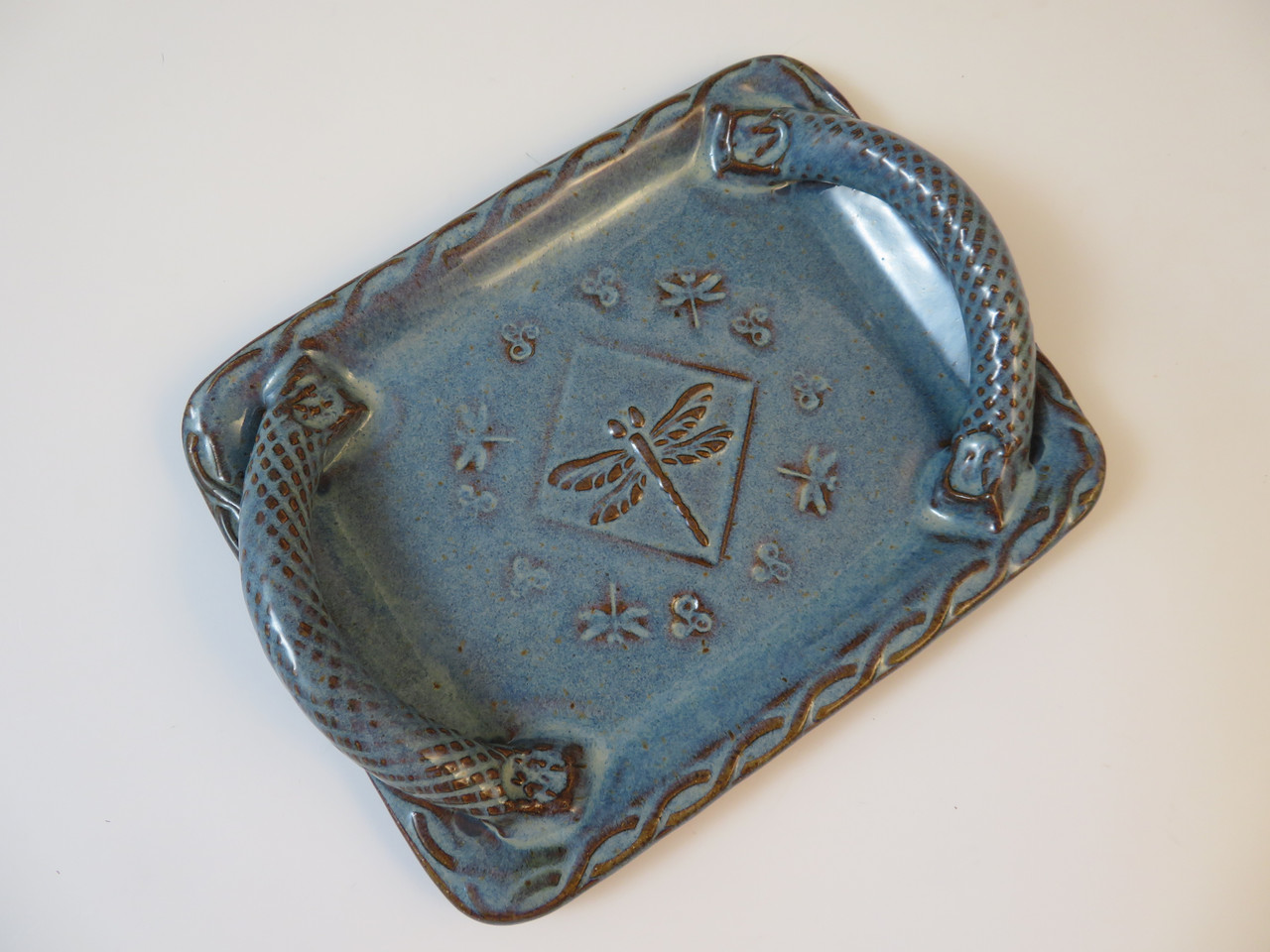 Small Dragonfly Tray in Rustic Blue