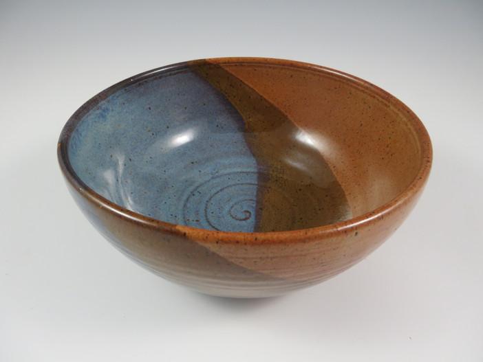 Serving Bowl in Blue, Brown, Nutmeg