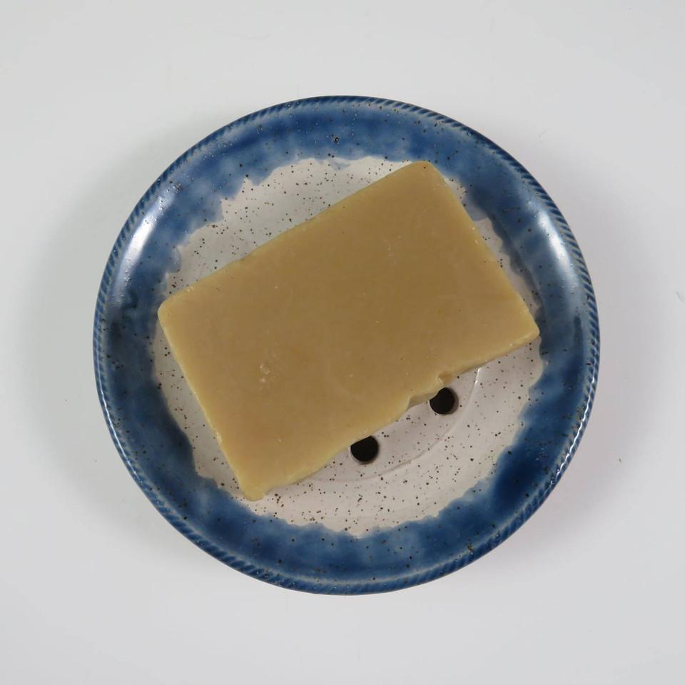 Soap Dish in White w/Blue Rim