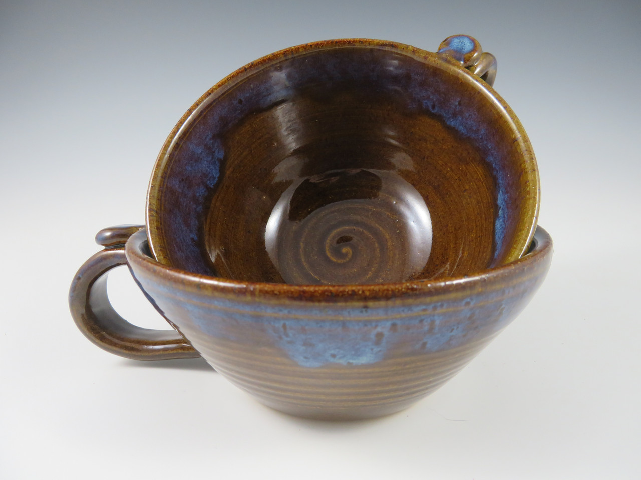 Soup Mugs in Brown with Blue Rim
