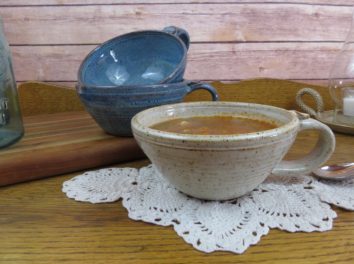 Soup Mugs in Rustic Blue and Vanilla Spice