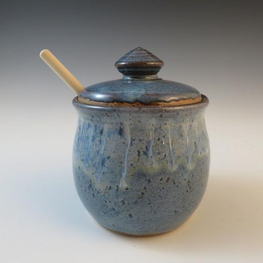 Honey Pot in Rustic Blue w/Flowing Rim