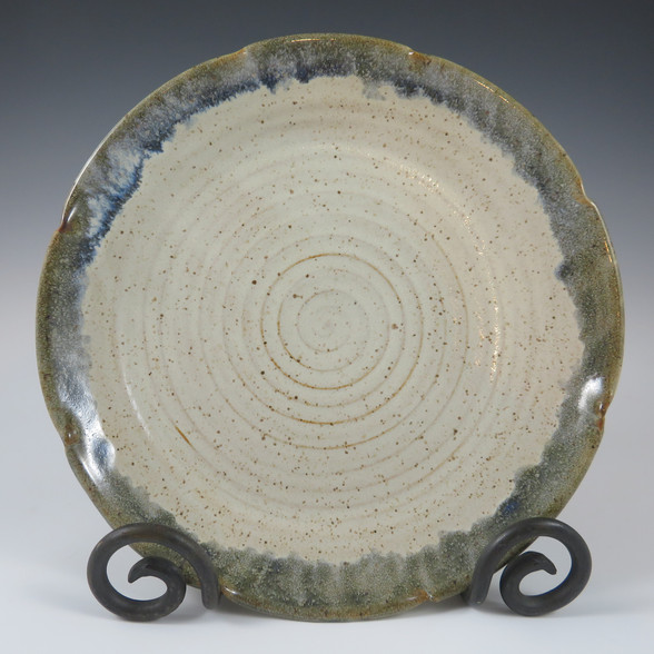 """10"""" Dinner Plate in Vanilla with Blue Rim"""