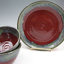 Luncheon Set in Deep Red w/Green Rim