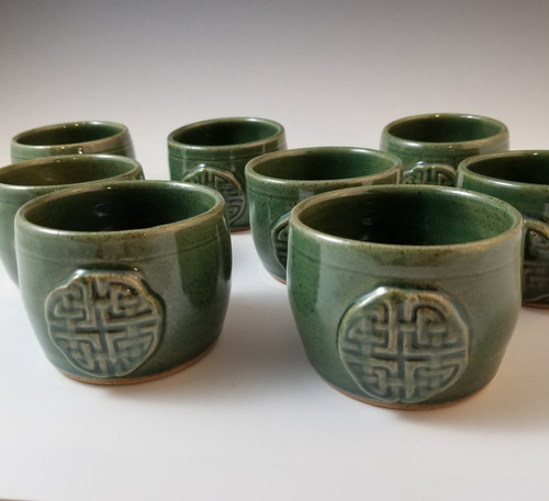 Tea Cups/Whiskey Cups w/Celtic Knot in Ivy Green