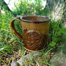 16 oz Mug w/Medallion in Brown w/Ancient Jasper