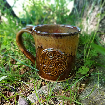 16 oz Mug w/Medallion in Brown w/Ancient Jasper