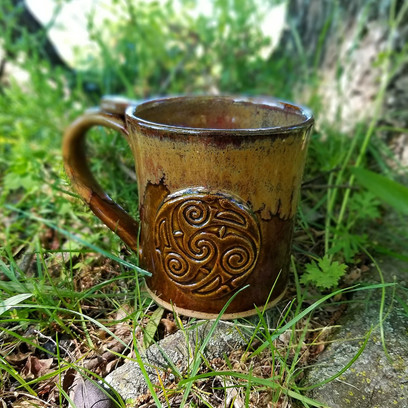 16 oz Mug w/Medallion in Brown w/Ancient Jasper Rim
