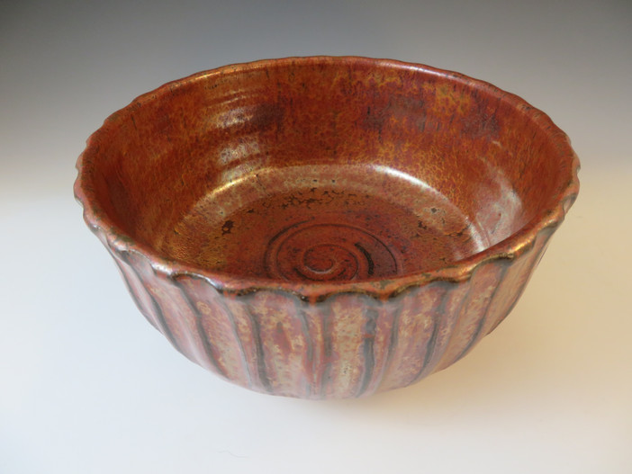 Fluted Bowl in Antique Copper
