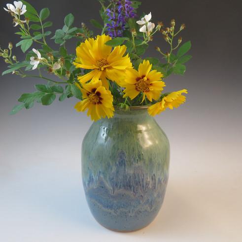 Vase in Rustic Blue Glaze with Flowing Seaweed & Merlot