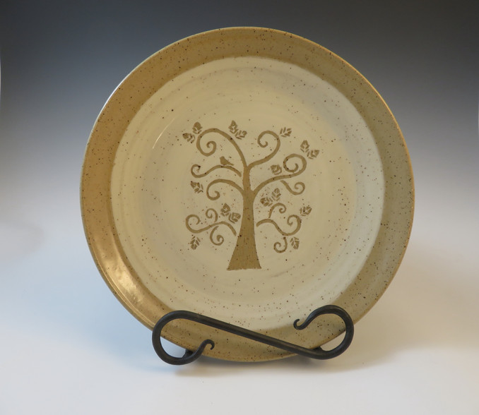 """10"""" Dinner Plate w/Hand Carved Tree"""