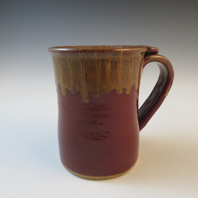 Mug in Deep Red w/Flowing Brown Rim