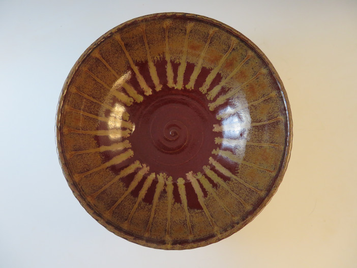 Serving Bowl in Deep Red w/Ancient Jasper