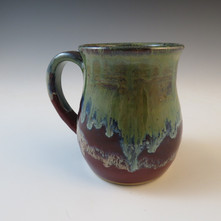 Mug in Deep Red w_Flowing Green and Blue