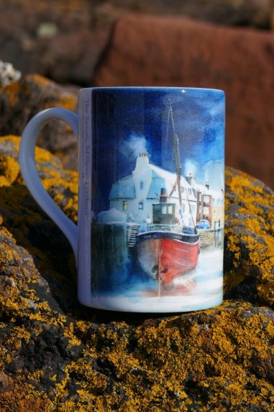 Art Mug with picture of the Saxon in Millport Harbour by Dorothy Bruce