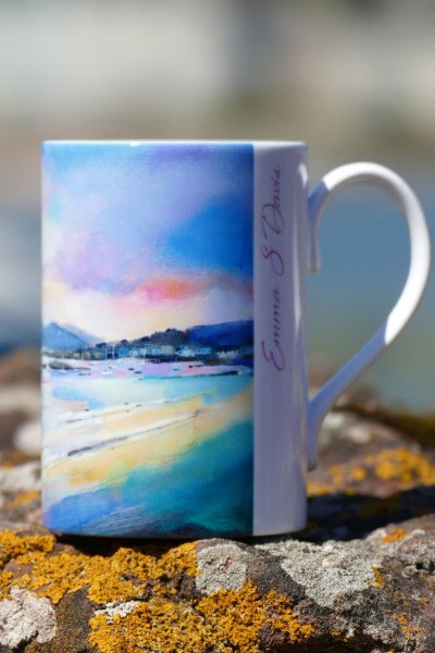 Art mug with picture of Sunset over Arran by Emma S Davis
