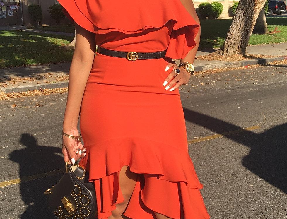 Orange Haute Ruffle Dress
