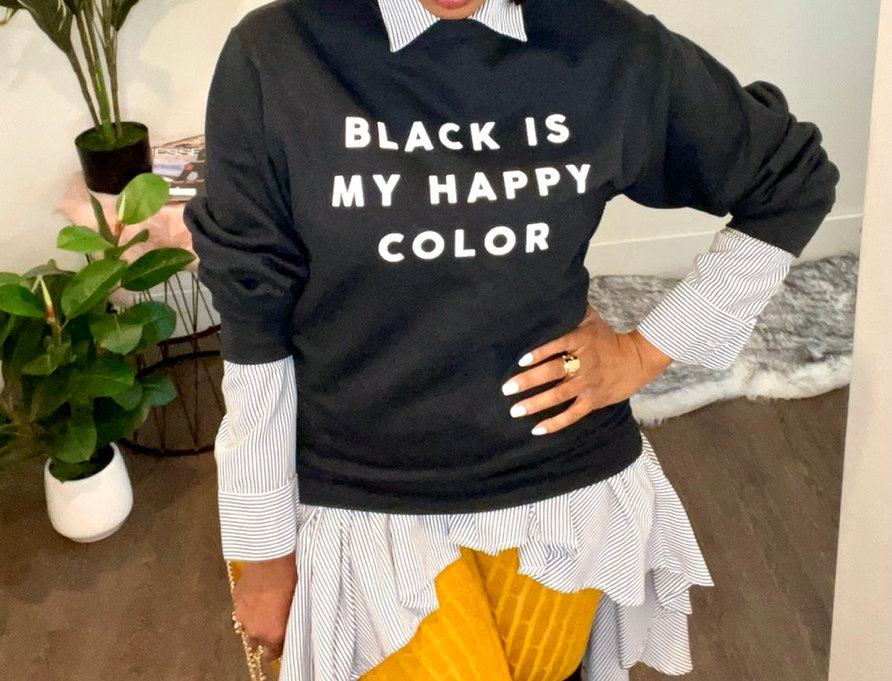 Black is My Happy Color Statement Pullover