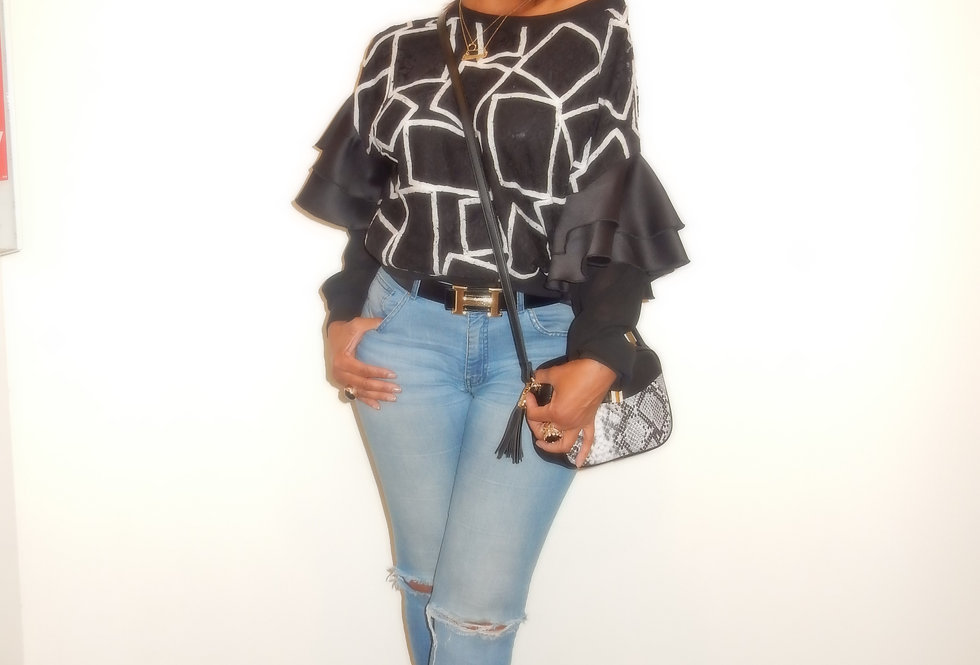 Squared Up Lace N Ruffle Top