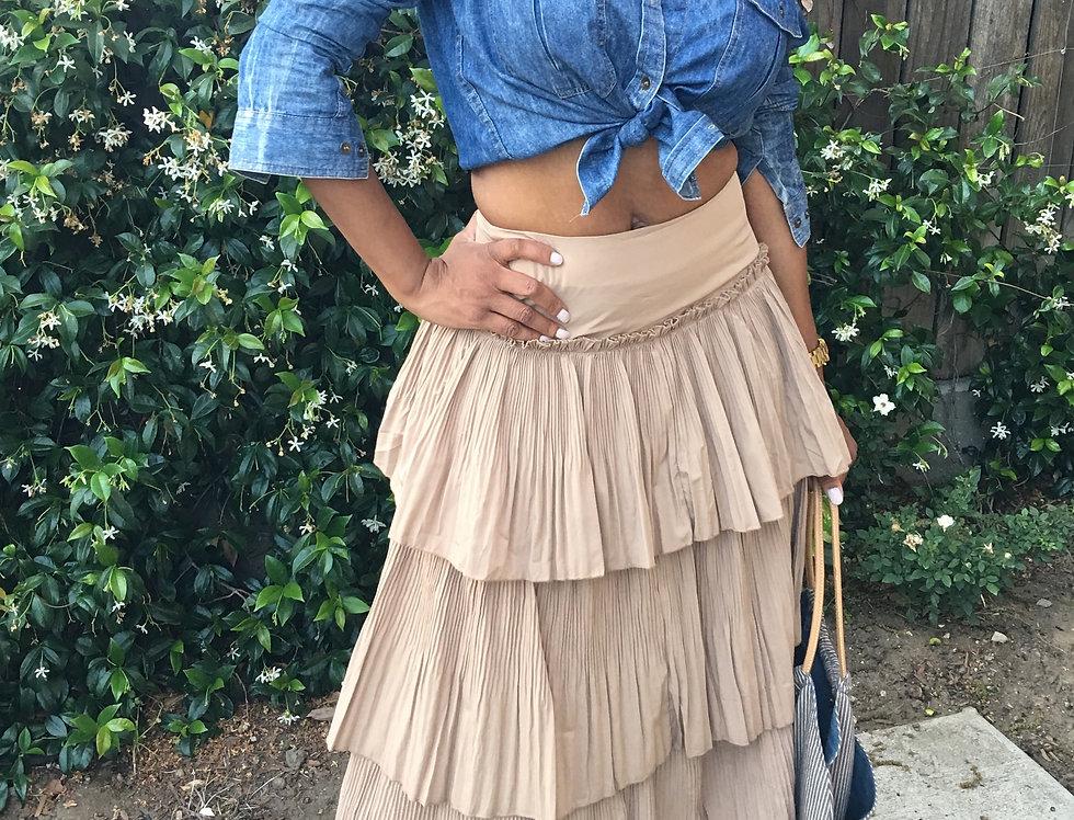 Khaki Ruffle Triple-Tier Skirt