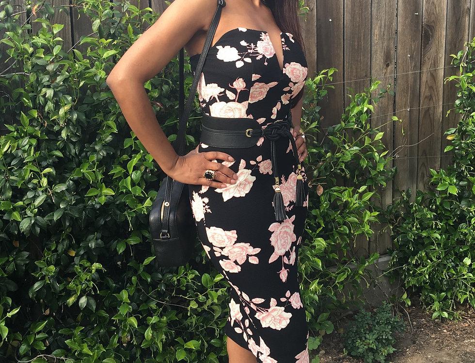 Majene Black Floral Dress