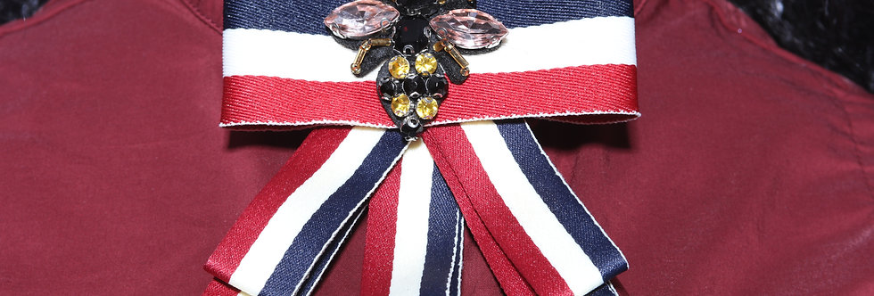 Tucci Striped Bee and the Bow Pin