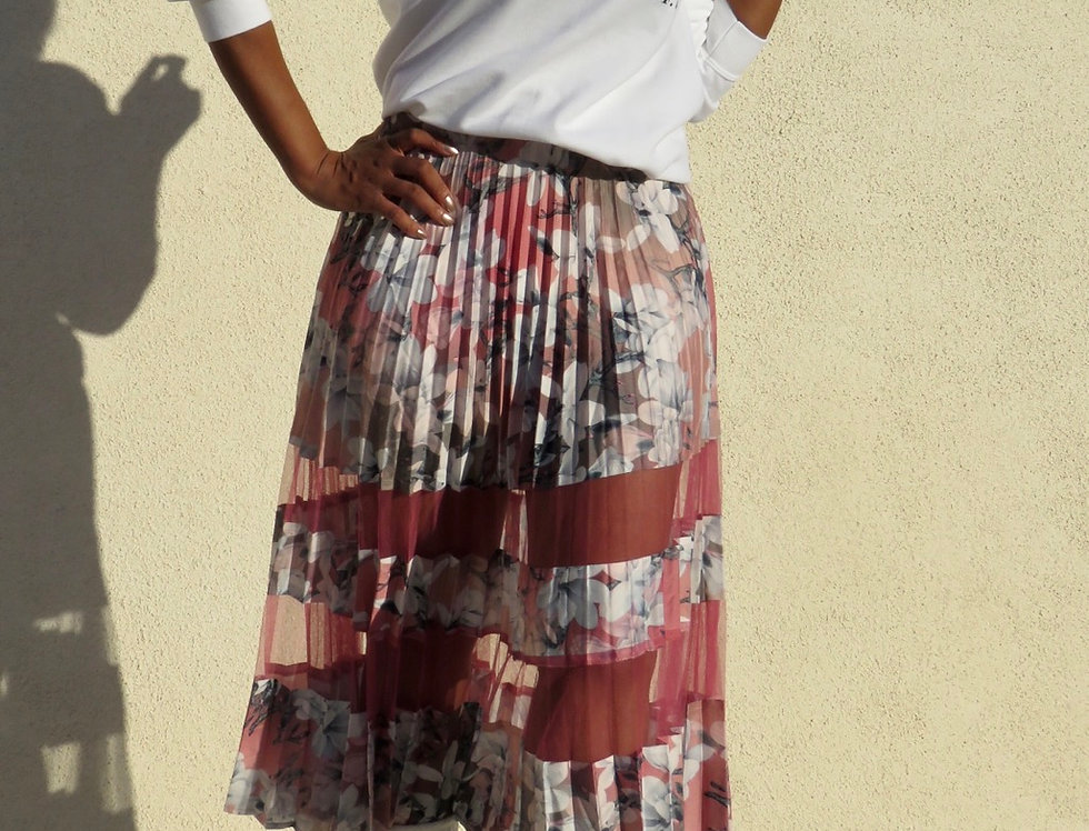 Lady Flowers Pleated and Mesh Skirt