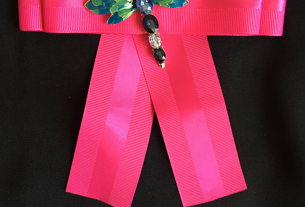 Tucci Hott Pink Dragon Fly Bow Pin