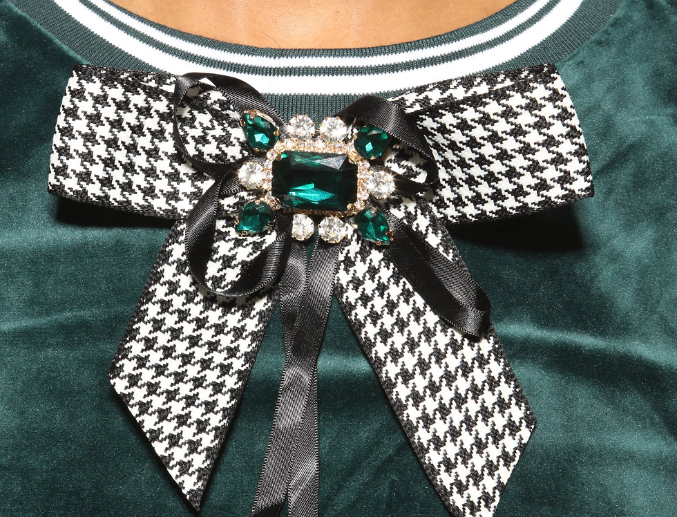 Tucci Houndstooth Rhinestone Bow Pin