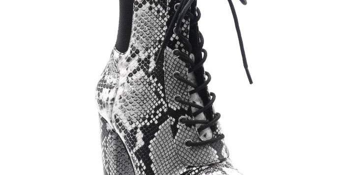 Snake-Ish Platform Lace Up Ankle Boots