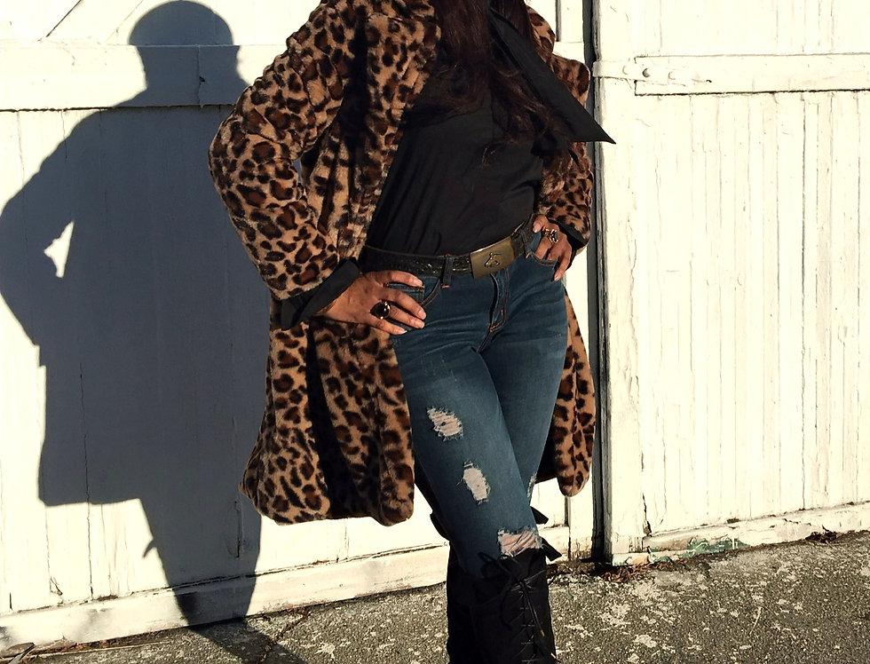 Leopard Bombshell Faux-Fur Coat